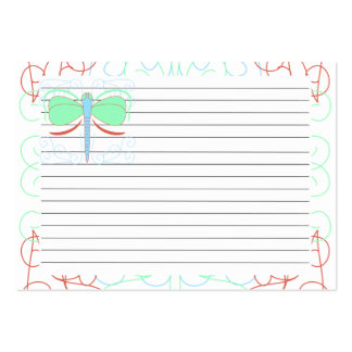 Pretty Cyan And Pink Dragonfly Recipe Card Business Cards