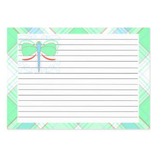 Pretty Cyan And Pink Dragonfly Recipe Card Business Card Template
