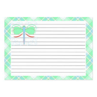 Pretty Cyan And Pink Dragonfly Recipe Card Pack Of Chubby Business Cards