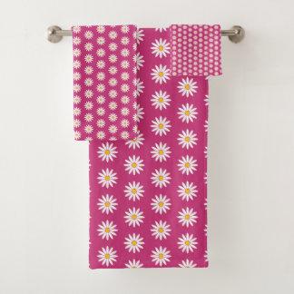 Pretty Daisies Flower Pattern Bath Towel Set