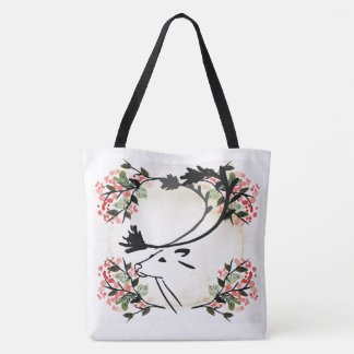 Pretty deer flower vintage look fancy  tote bag