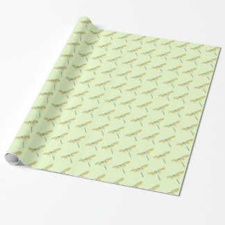 Pretty dragonflies on pale pistachio wrapping paper