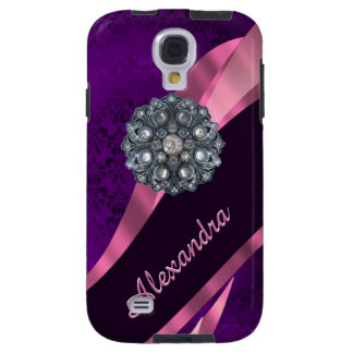 Pretty elegant purple personalized damask pattern galaxy s4 case