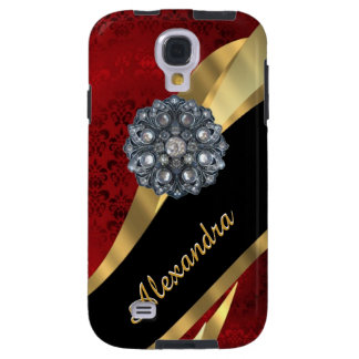 Pretty elegant red damask pattern personalized galaxy s4 case
