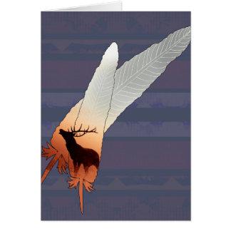 Pretty Elk Native American Feather Navy Blue Card