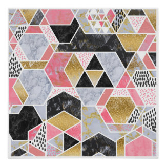 Pretty faux gold glitter marble geometric design poster