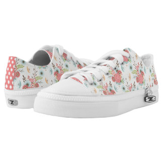 Pretty Floral and Polka Dot ZipZ Tennis Shoes