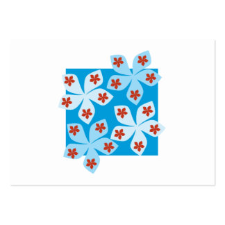 Pretty floral design, blue, red and white. pack of chubby business cards