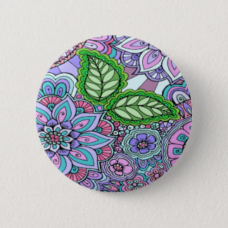 Pretty Floral Hand Drawn Doodle Pattern 6 Cm Round Badge