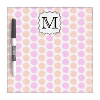 Pretty Floral Pattern with Custom Monogram Letter. Dry-Erase Whiteboard