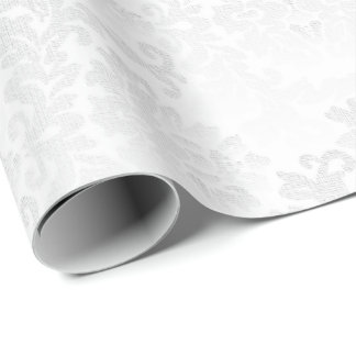 Pretty Floral White Damask Wedding Design Wrapping Paper