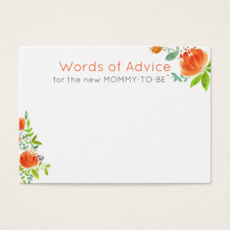 PRETTY FLORAL WREATH BABY SHOWER MOMMY ADVICE BUSINESS CARD