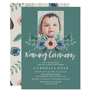 Pretty Florals | Pink & Green Naming Ceremony 13 Cm X 18 Cm Invitation Card
