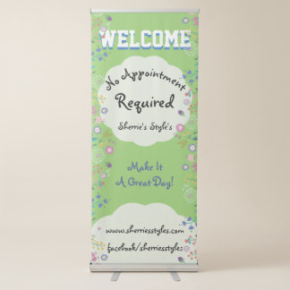 Pretty Flowers No Appointment Required Business Retractable Banner