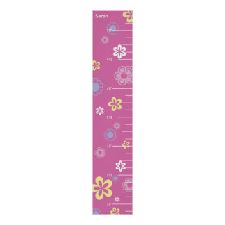 Pretty Flowers on Pink Growth Chart Poster