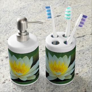 Pretty Flowers Soap Dispenser And Toothbrush Holder