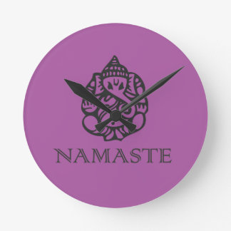 Pretty Ganesh Namaste Purple Design Round Clock