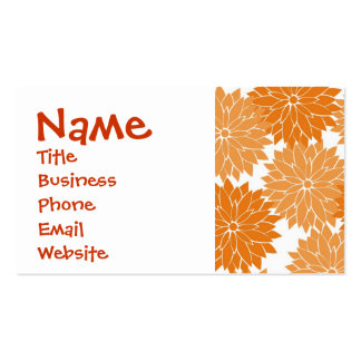 Pretty Girly Orange Flower Blossoms Floral Print Pack Of Standard Business Cards