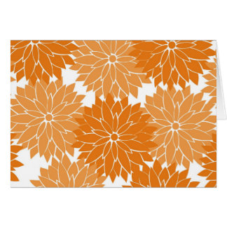 Pretty Girly Orange Flower Blossoms Floral Print Card