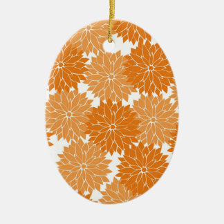 Pretty Girly Orange Flower Blossoms Floral Print Ceramic Oval Decoration