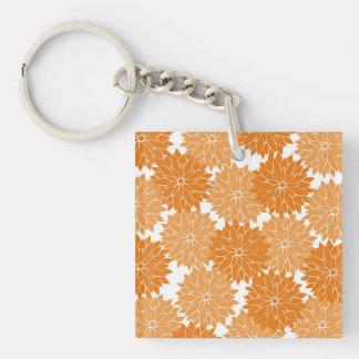 Pretty Girly Orange Flower Blossoms Floral Print Key Ring