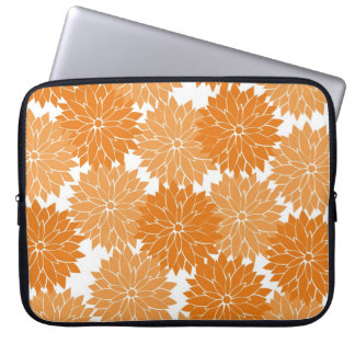 Pretty Girly Orange Flower Blossoms Floral Print Computer Sleeve
