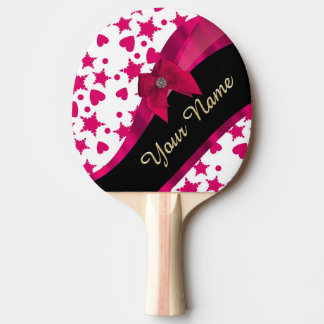 Pretty girly red and white patterned monogram ping pong paddle