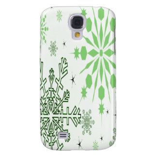 Pretty Green Snowflakes Galaxy S4 Case