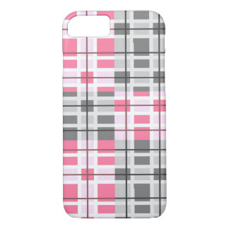 Pretty Grey, Pink, And White Plaid Pattern iPhone 8/7 Case