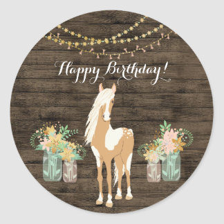 Pretty Horse and Flowers Rustic Wood Birthday Classic Round Sticker