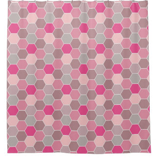 Pretty in Pink Honeycomb Pattern Shower Curtain