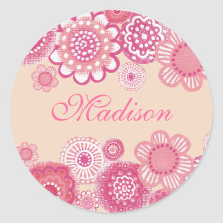 Pretty in Pink & Peach Painted Girls Name Label Round Sticker