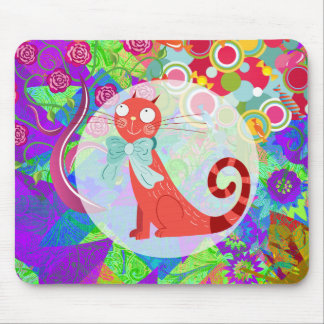 Pretty Kitty Crazy Cat Lady Gifts Vibrant Colorful Mouse Pad