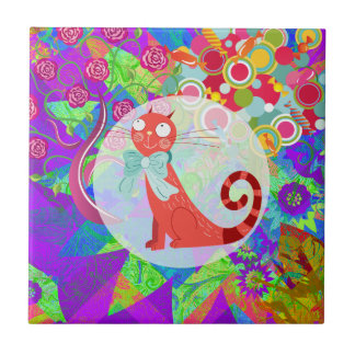 Pretty Kitty Crazy Cat Lady Gifts Vibrant Colorful Small Square Tile