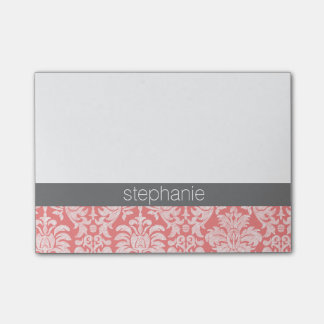 Pretty Lace Damask Pattern Coral Grey Post-it Notes