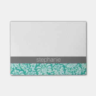 Pretty Lace Damask Pattern teal green and Grey Post-it Notes