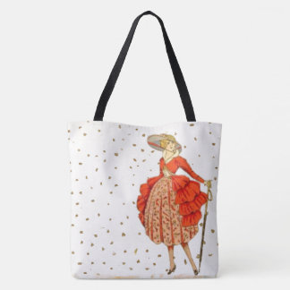 Pretty lady flower vintage look fancy  tote bag