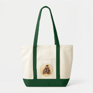 Pretty Lady with Pekingese on a Tote