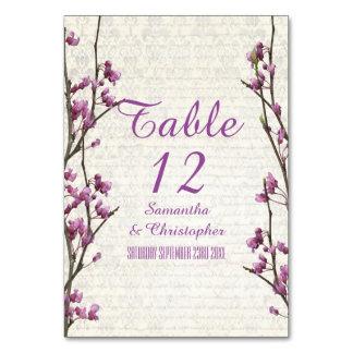 Pretty mauve floral flower spring blossom wedding table cards