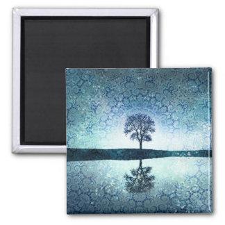 Pretty Mystic Blue Bohemian Night Tree Magnet
