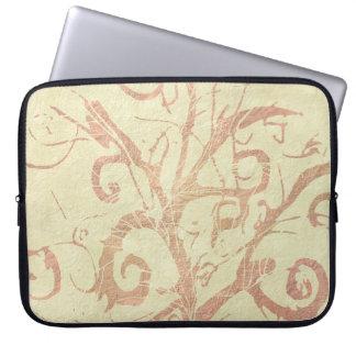 Pretty Neutral Beige Sandstone Vines Flourish Laptop Sleeve