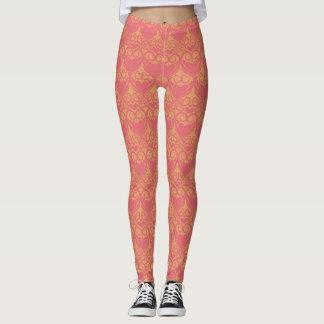 Pretty Orange and Pink Pattern Leggings