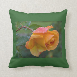 Pretty Orange and Pink Rose Throw Pillow