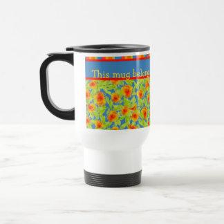 Pretty Orange Marigolds and Stripes Travel Mug
