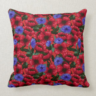 Pretty Painted Poppies and Cornflowers Cushion