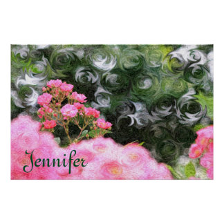 Pretty Painterly Pink Roses Green White Swirls Poster
