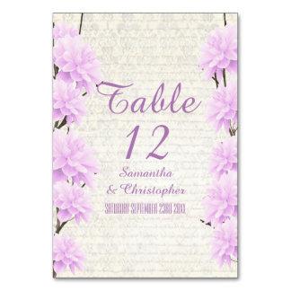 Pretty pale lilac floral flower blossom wedding table card