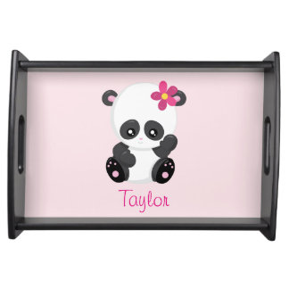 Pretty Panda Personalize Pink and Black Serving Tray