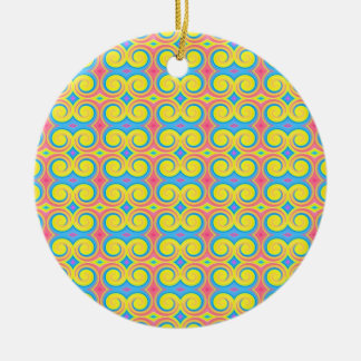 Pretty Pastel Colors Swirl Pattern Christmas Ornament