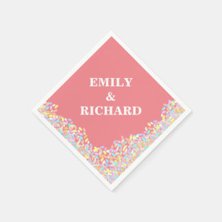 Pretty Pastel Confetti Wedding Disposable Napkin
